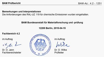 BAM Prüfbericht - Einhaltung der Anforderungen an Raumluftemissionen