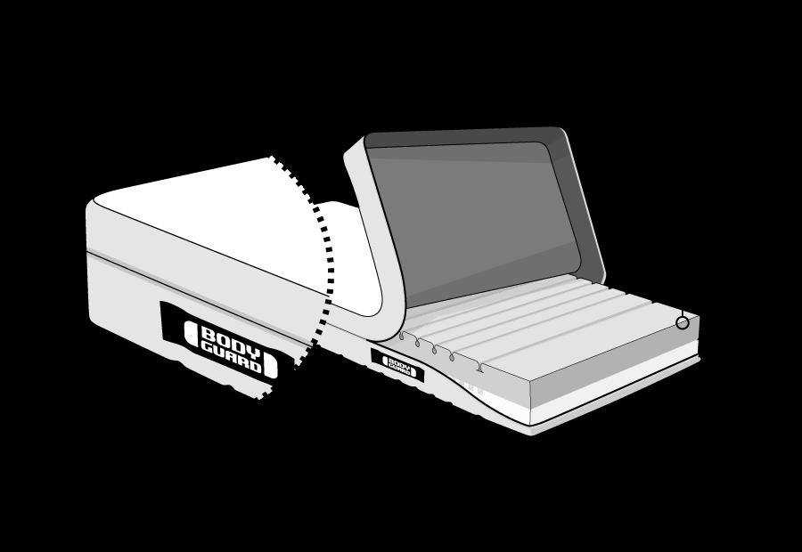 Illustration: Die BODYGUARD Weich. Der Bezug ist an einer Seite hochgeklappt, so dass der verschiedenfarbige Matratzenkern zu sehen ist. Oben ist die Seite mit der dunklen, weichen Liegehärte (H2).