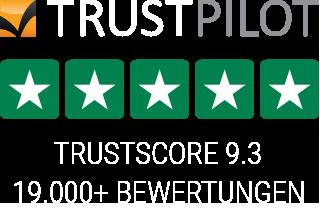 Trustpilot Bewertungen - 19000+ - Durchschnittsbewertung 9.3