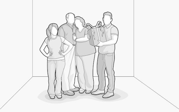Illustration: Eine Familie steht zusammen und hält ein Geschenkpaket in den Händen.