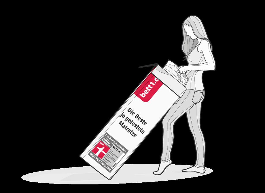 Illustration: Eine Frau zieht die komprimierte BODYGUARD Matratze aus dem Karton.