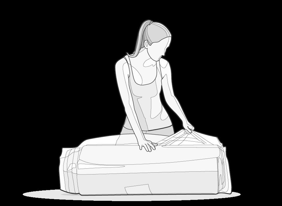 Illustration: Eine Frau öffnet die Verpackungsfolie der BODYGUARD Matratze.
