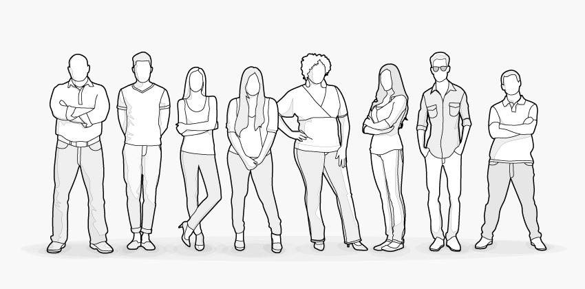 Illustration: Mehrere Personen in einer Reihe: Beste jemals getestete Matratze für alle Körpertypen geeignet