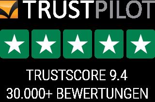 Trustpilot Bewertungen - 30000+ - Durchschnittsbewertung 9.4